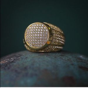 New Micro Pave Men's Gold Diamond Ring ICEY